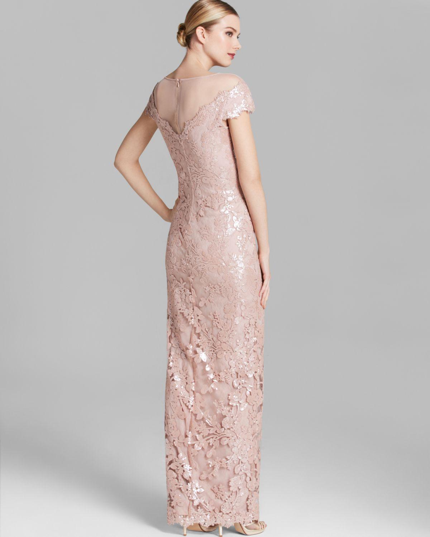 Lyst - Tadashi Shoji Shoji Gown Illusion Neckline Sequin Lace in Pink