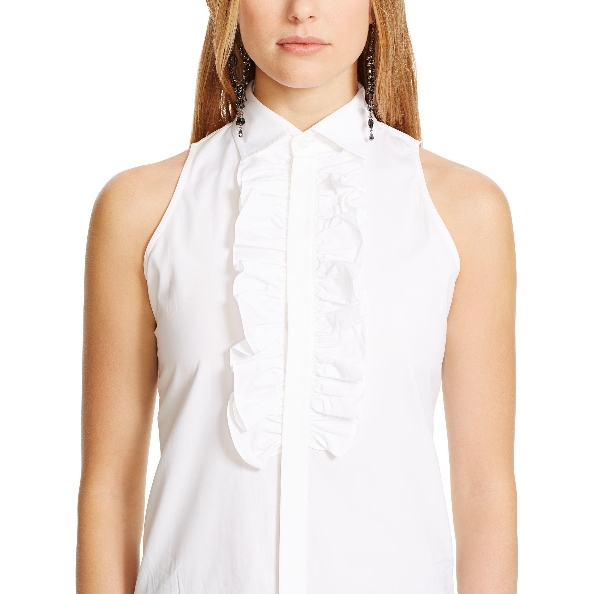 Polo Ralph Lauren Ruffled Sleeveless Shirt In White Lyst