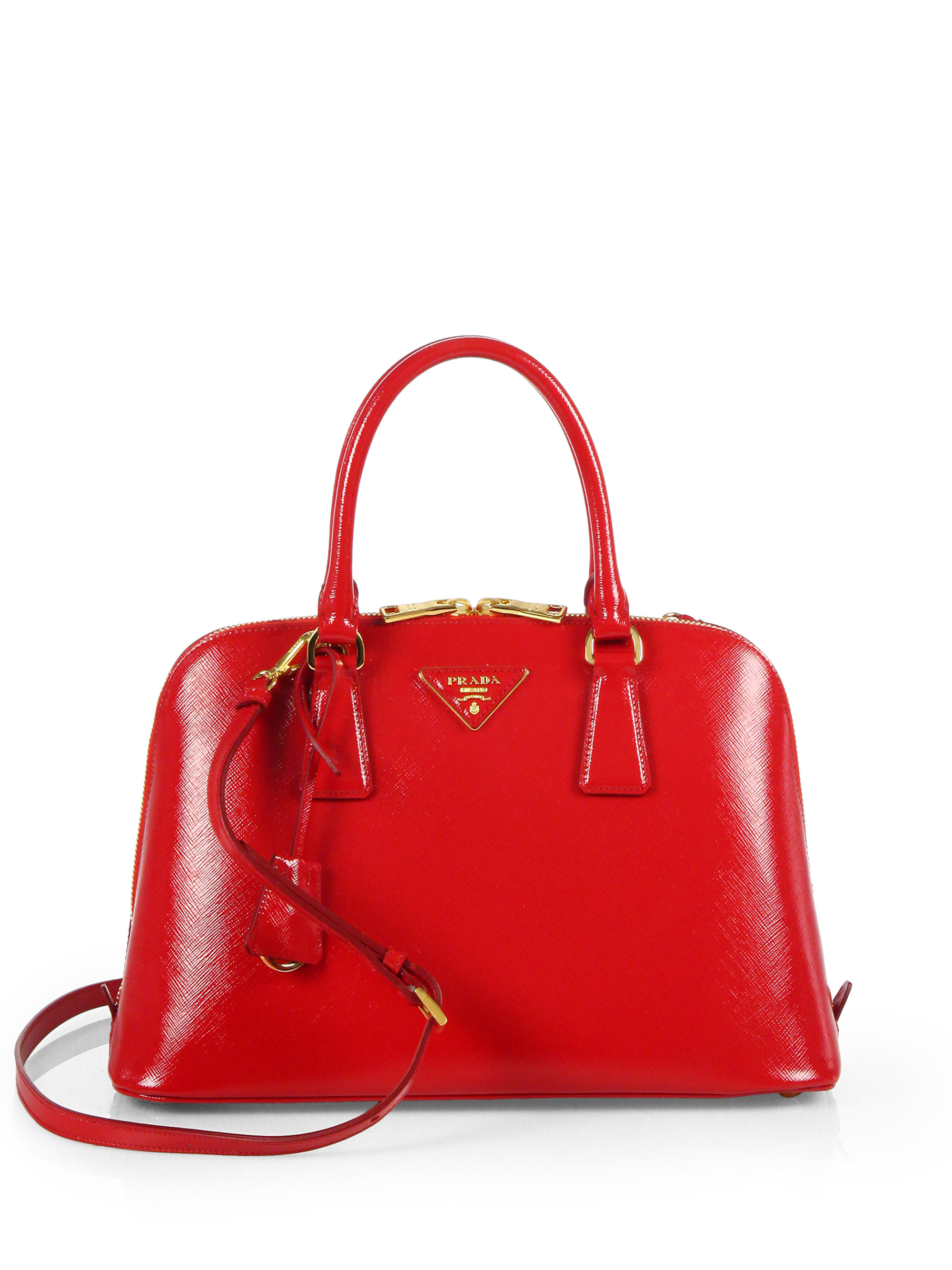 Prada Saffiano Vernice Small Promenade Bag in Red (ROSSO-RED) | Lyst