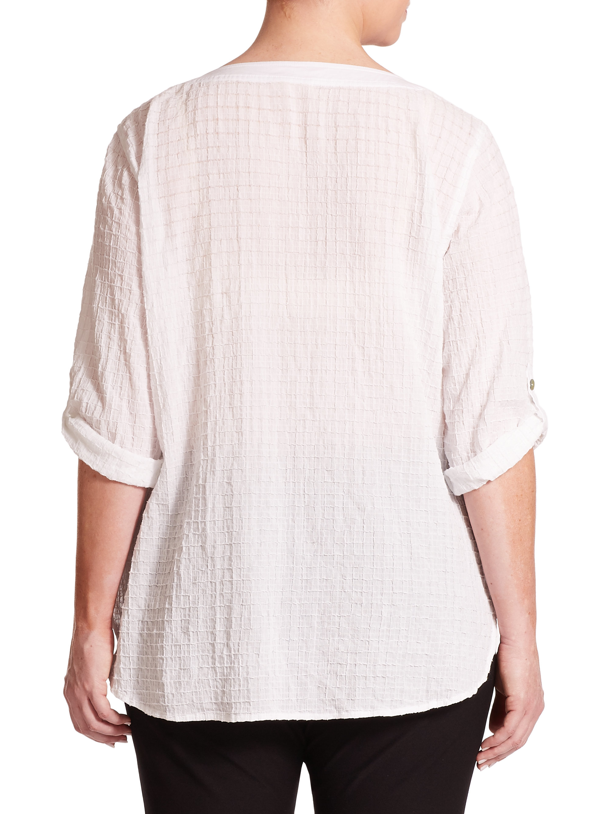 Eileen Fisher Cotton Blouse Lace Henley Blouse
