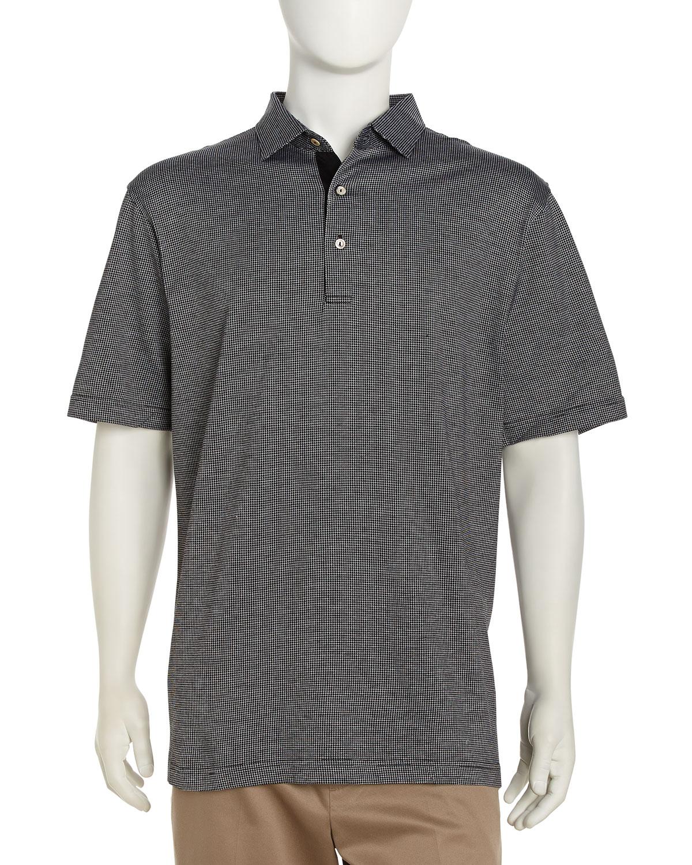Lyst peter millar jacquard knit golf shirt in black for men for Peter millar golf shirts