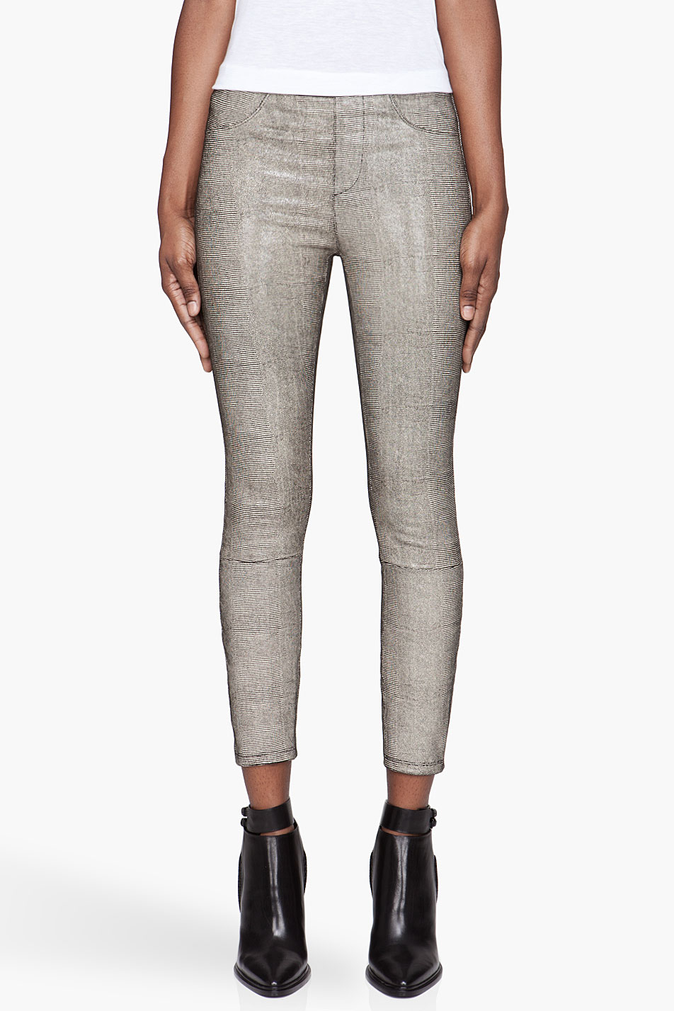 Helmut lang Beige and Black Rift Stretch Leather Leggings in ...