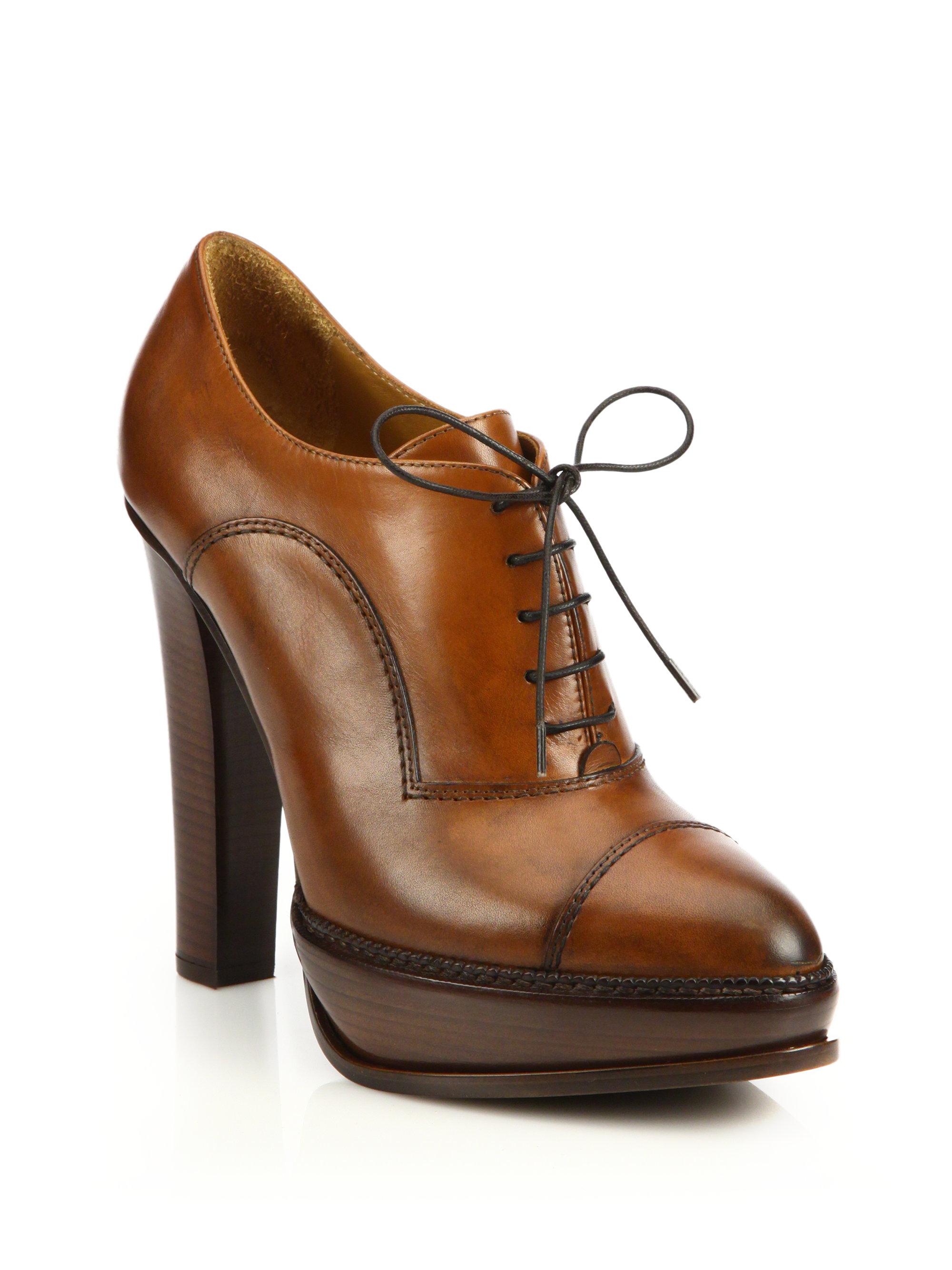 ebece422e873 Lyst - Ralph Lauren Temple Leather Oxford Platform Booties in Brown