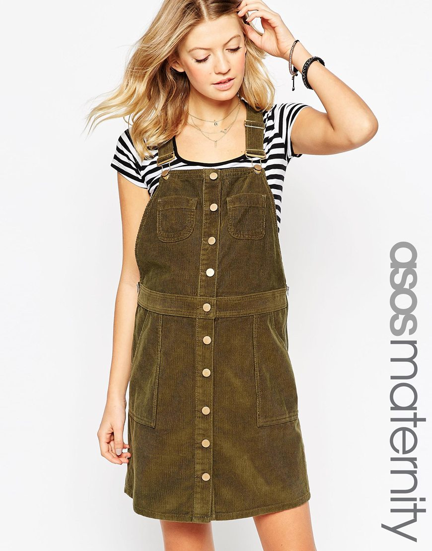 Asos button down pinafore dress in cord in green lyst gallery ombrellifo Image collections