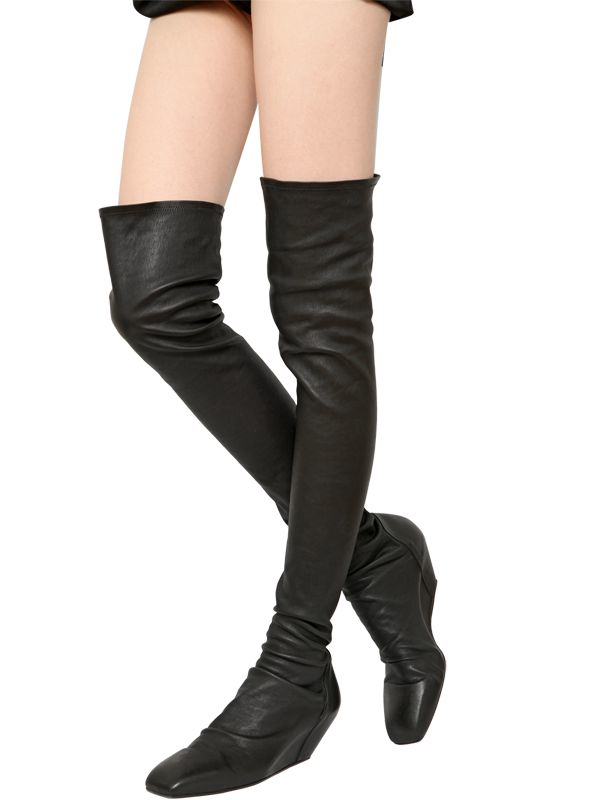 4d73ea34d5a3 Lyst - Rick Owens 70mm Stretch Leather Over The Knee Boots in Black