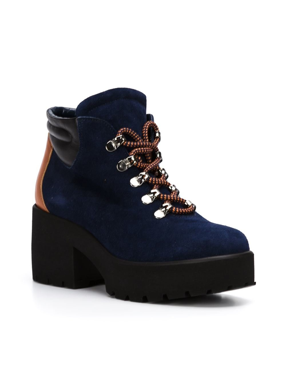 pollini blue chunky heel hiking boots lyst