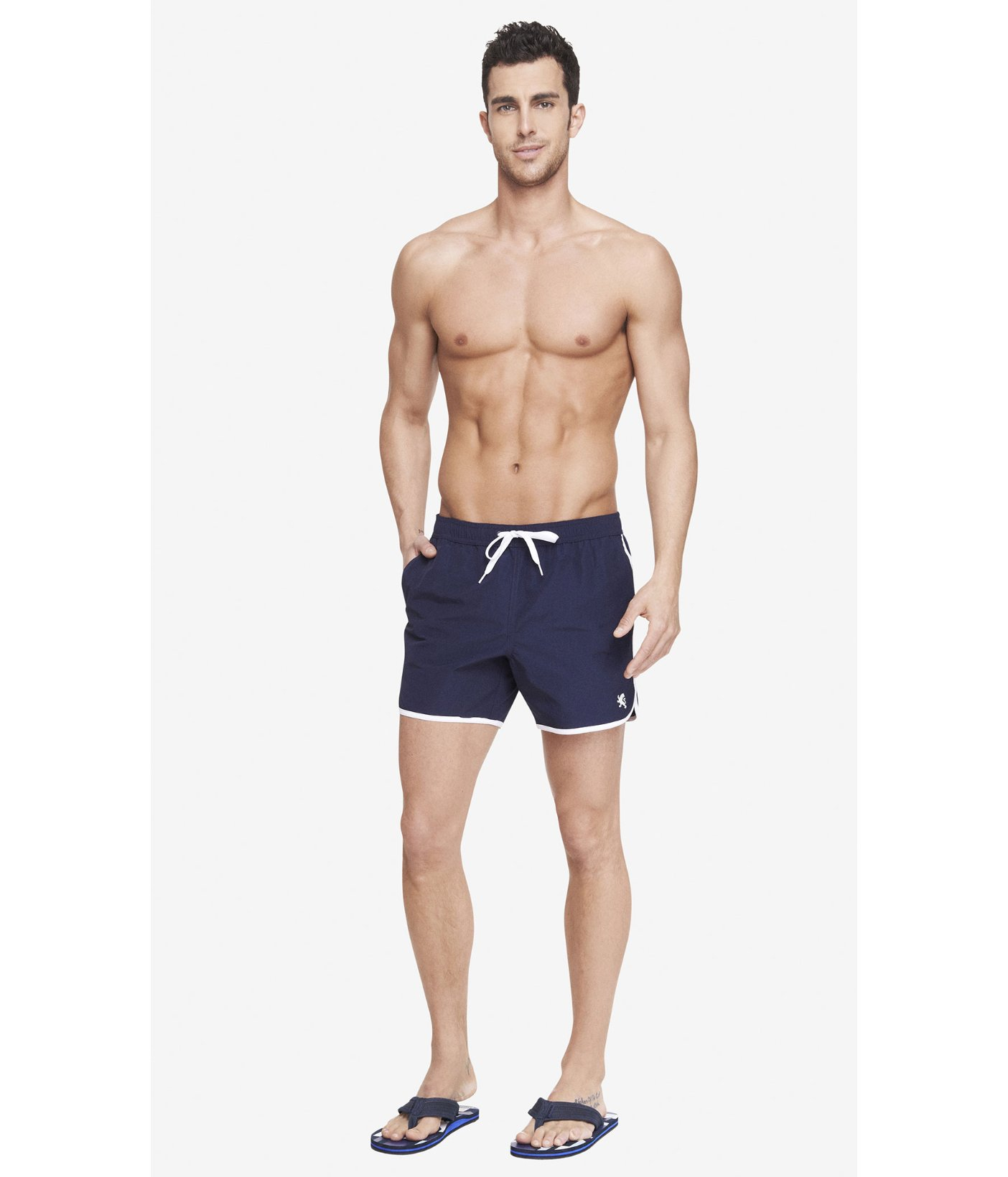 bd4b7ad6d1 Express Piped Athletic Swim Shorts in Blue for Men - Lyst