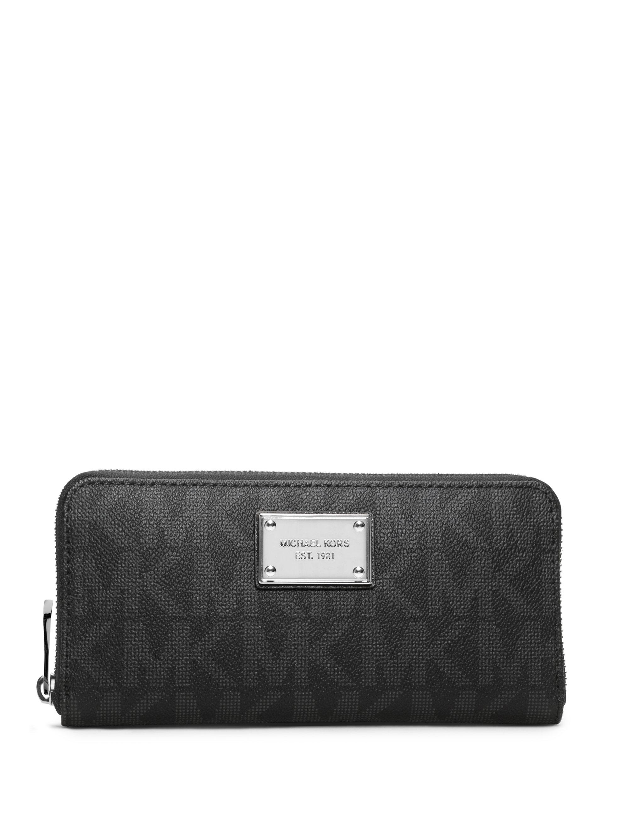 35c21edac458f0 MICHAEL Michael Kors Jet Set Travel Logo Continental Wallet in Black ...