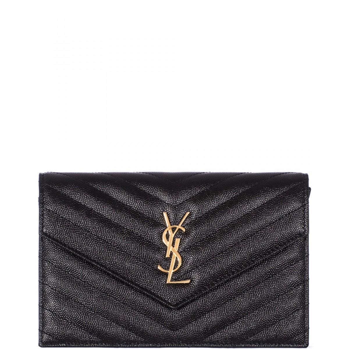 5737ceb761 monogram saint laurent envelope chain wallet in red grain de poudre textured  matelasse leather