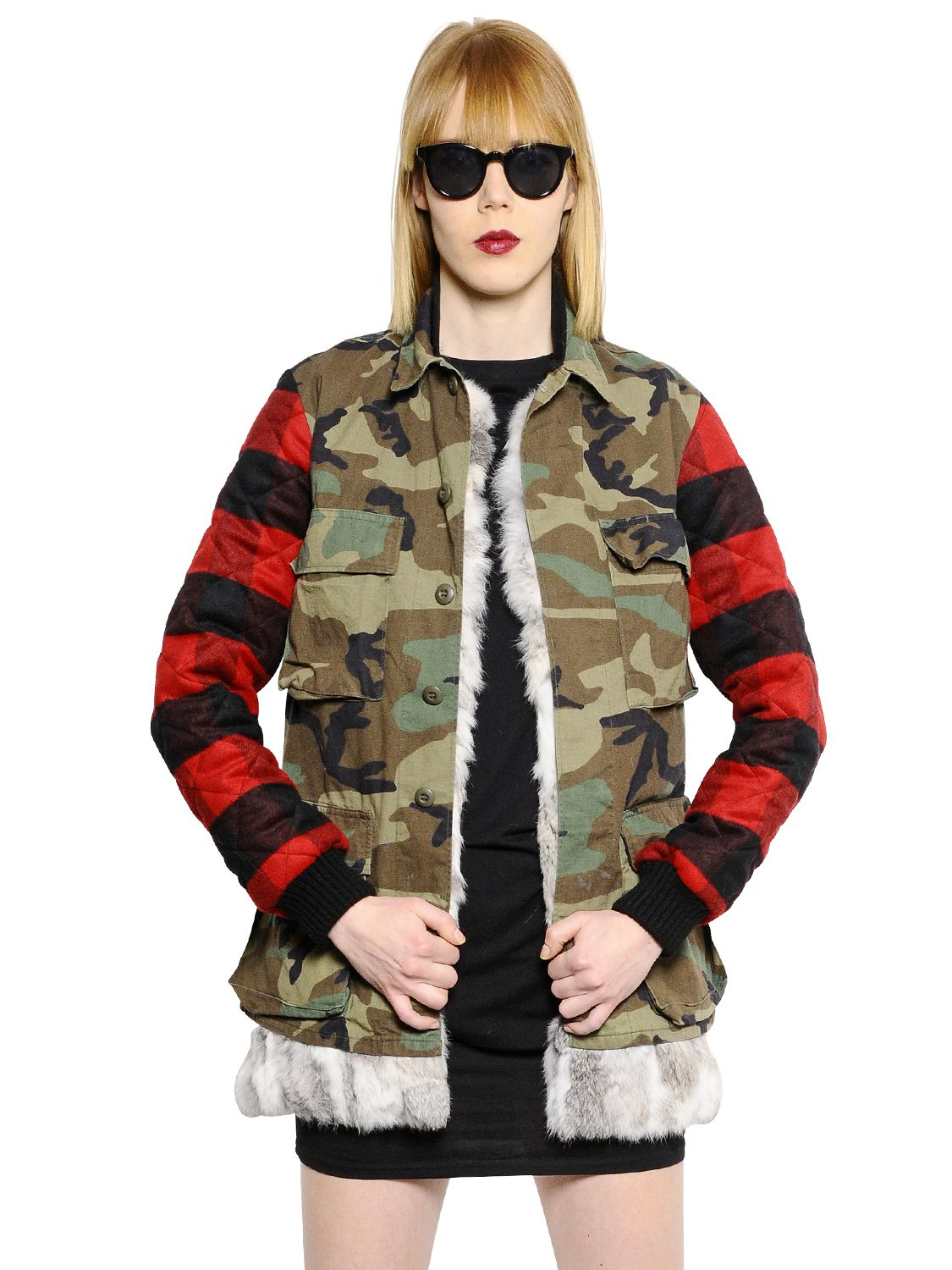 Lyst That S It Lapin Fur Vest Cotton Military Jacket In