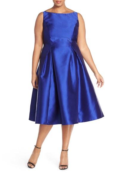 Adrianna Papell Sleeveless Mikado Fit Amp Flare Midi Dress