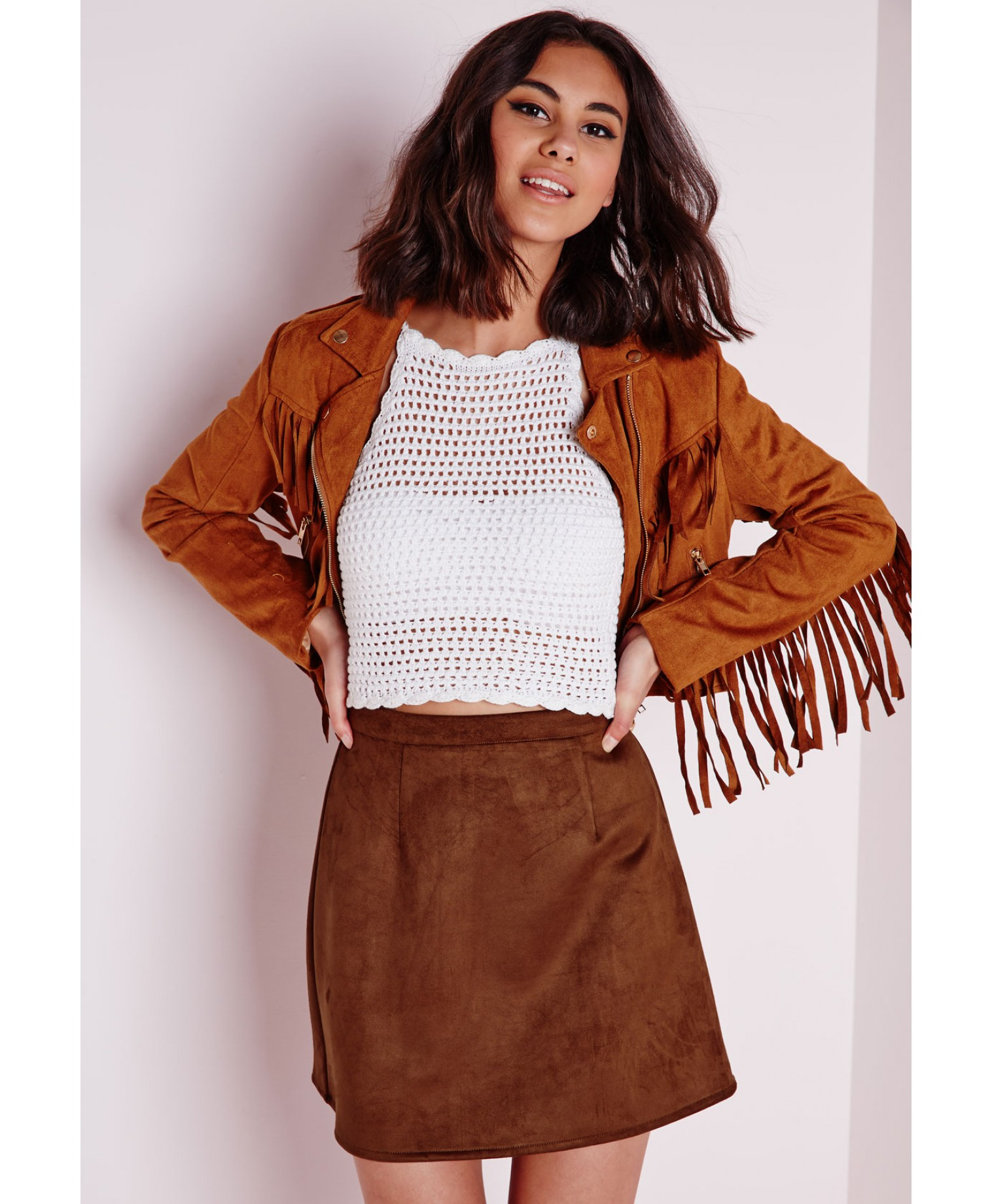 Missguided Faux Suede A Line Skirt Tan in Brown   Lyst