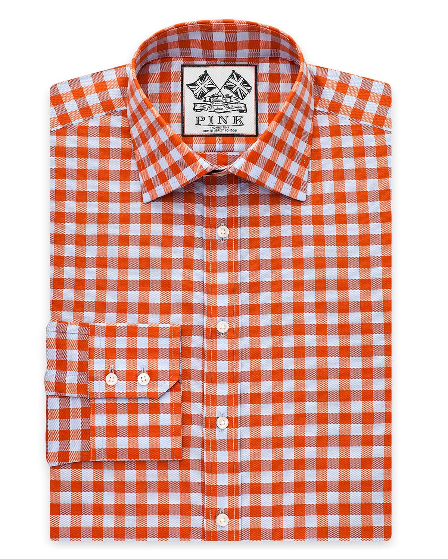 Lyst thomas pink plato check dress shirt regular fit for Pink checkered dress shirt