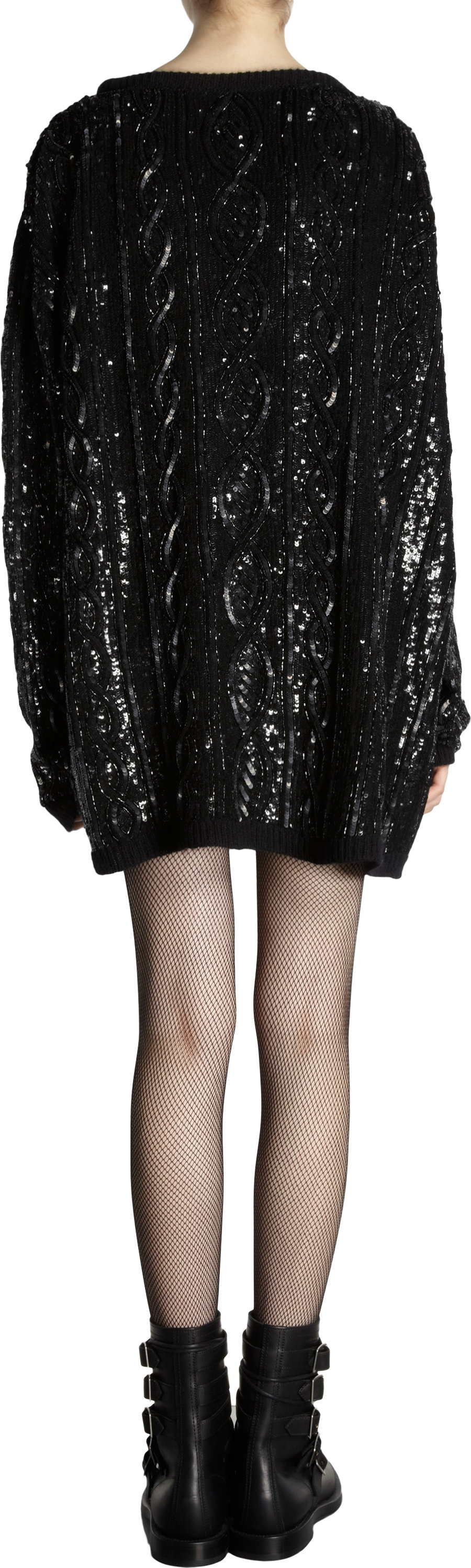 Saint laurent Sequin Embelished Oversized Cable Knit Sweater in ...