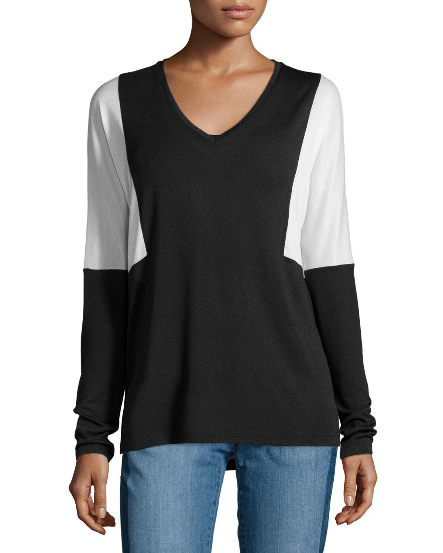 Vince long sleeve semisheer colorblock tee in black lyst for Vince tee shirts sale
