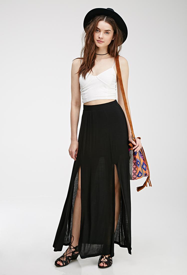 Forever 21 M-Slit Maxi Skirt in Black | Lyst