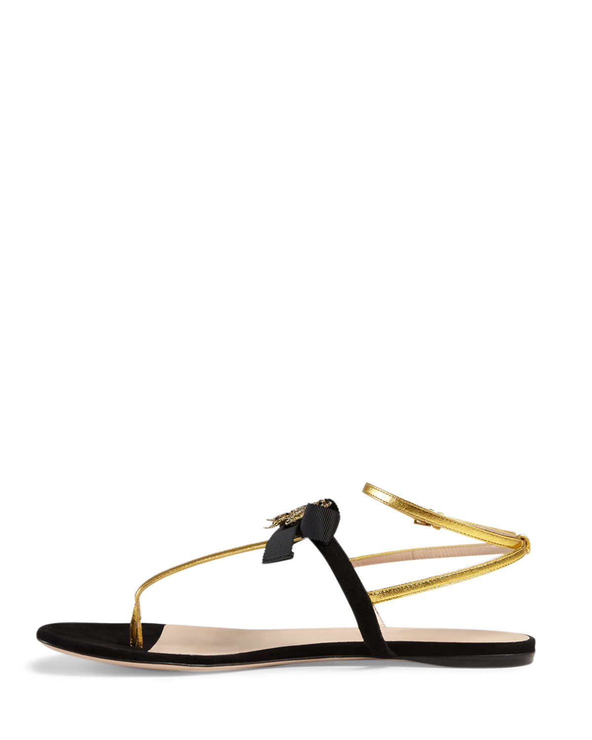 d7518f93d143 Lyst - Gucci Moody Bow-Detail Flat Sandals in Black