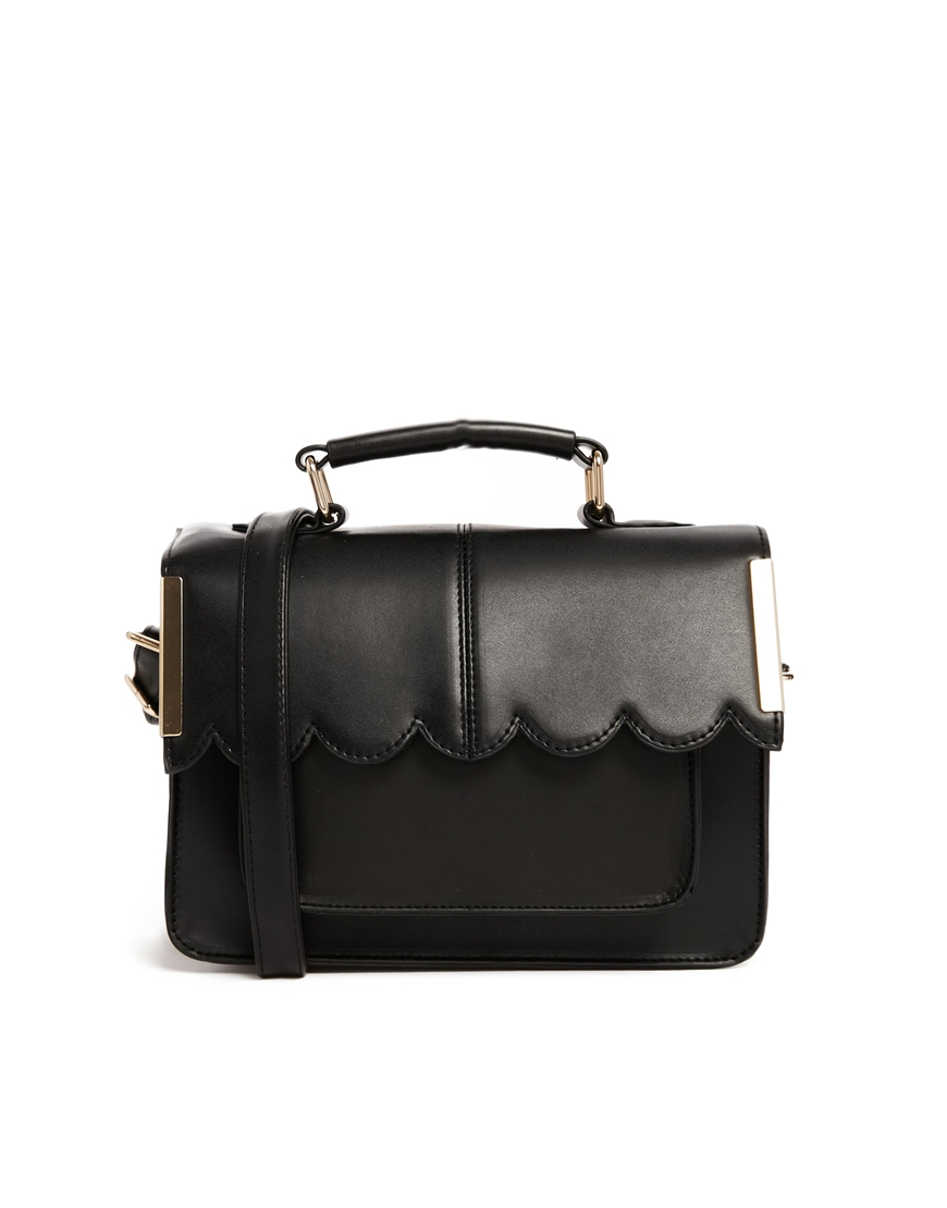 Asos Mini Satchel Bag With Scallop Bar Detail in Black | Lyst