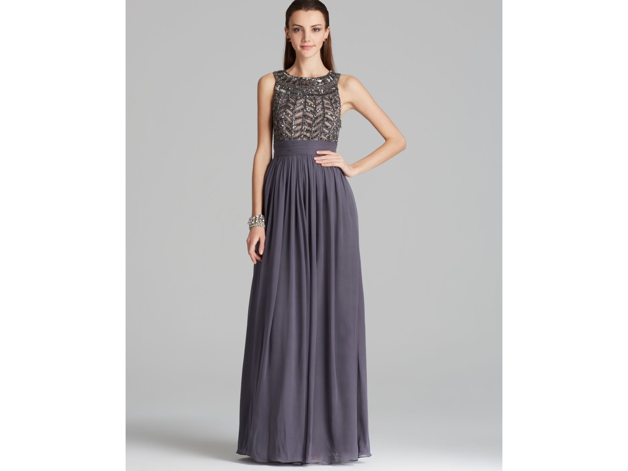 0c2fb9fd1b Lyst - JS Collections Beaded Bodice Chiffon Gown - Gladiator in Gray