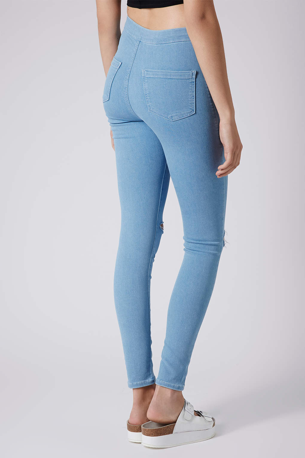 4d54fd608ae TOPSHOP Moto Bleached Ripped Joni Jeans in Blue - Lyst