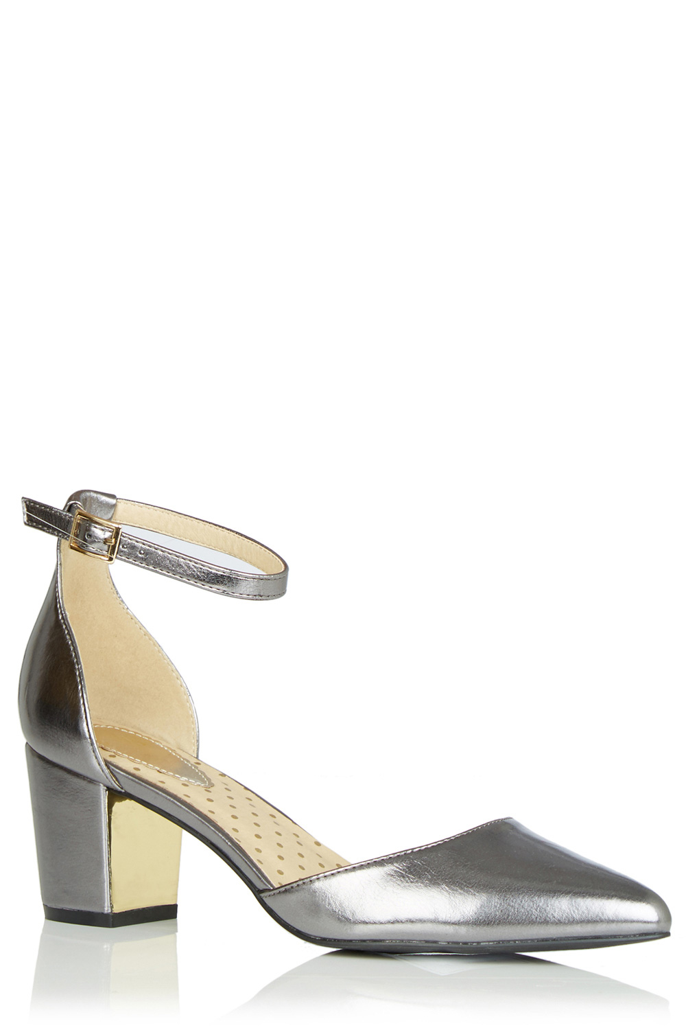 Block Heel Metallic Shoes Uk
