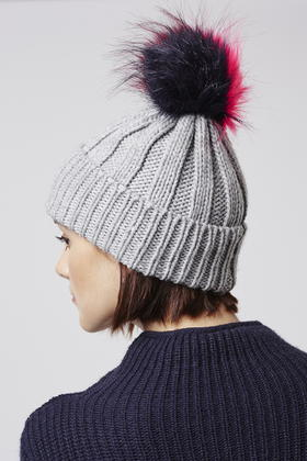 d48605b7d98 Lyst - TOPSHOP Multi-coloured Pom Beanie Hat in Gray