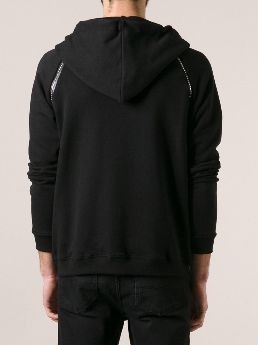 Lyst Saint Laurent Studded Hoodie In Black For Men