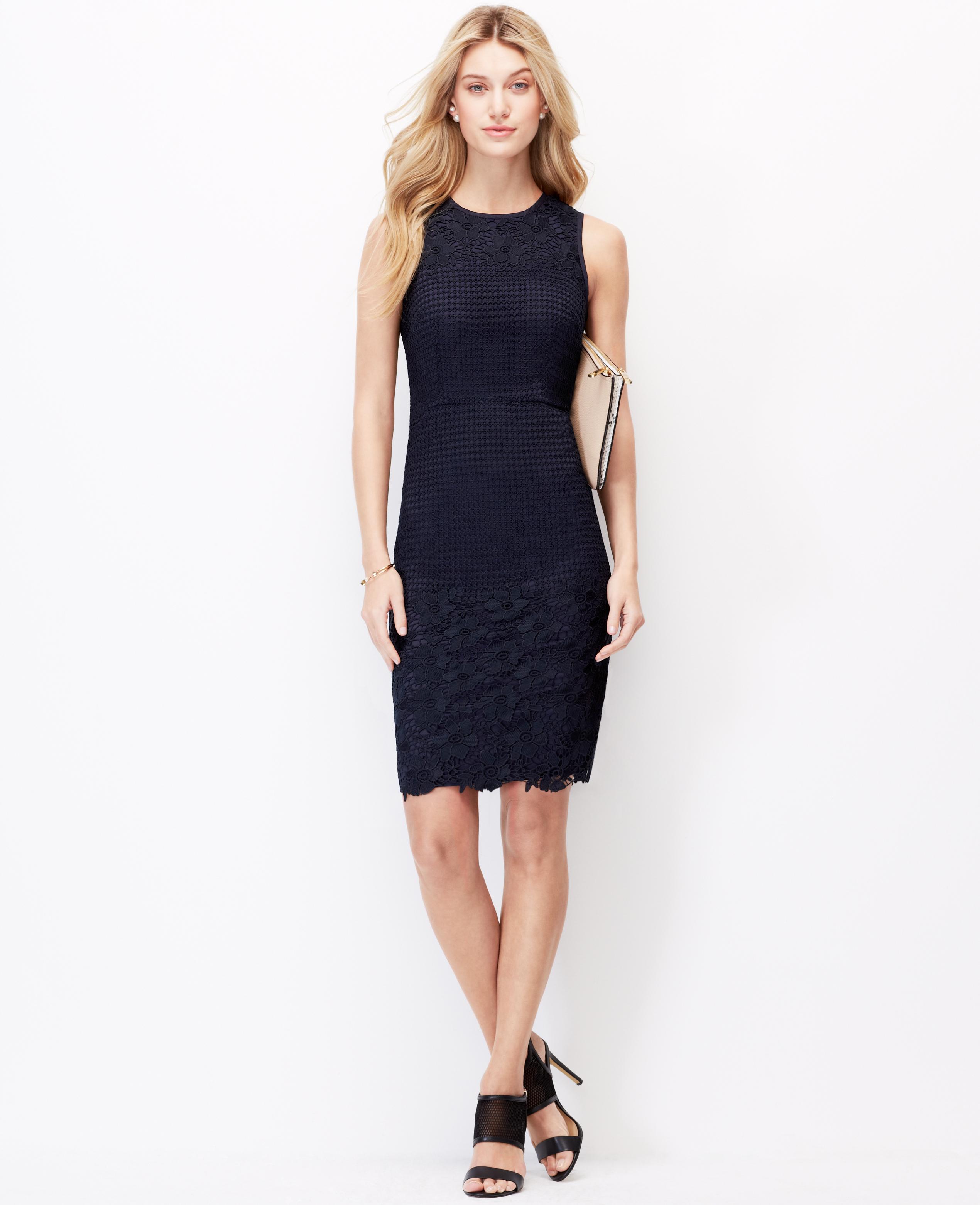 Ann Taylor Petite Floral Lace Sheath Dress In Blue Lyst