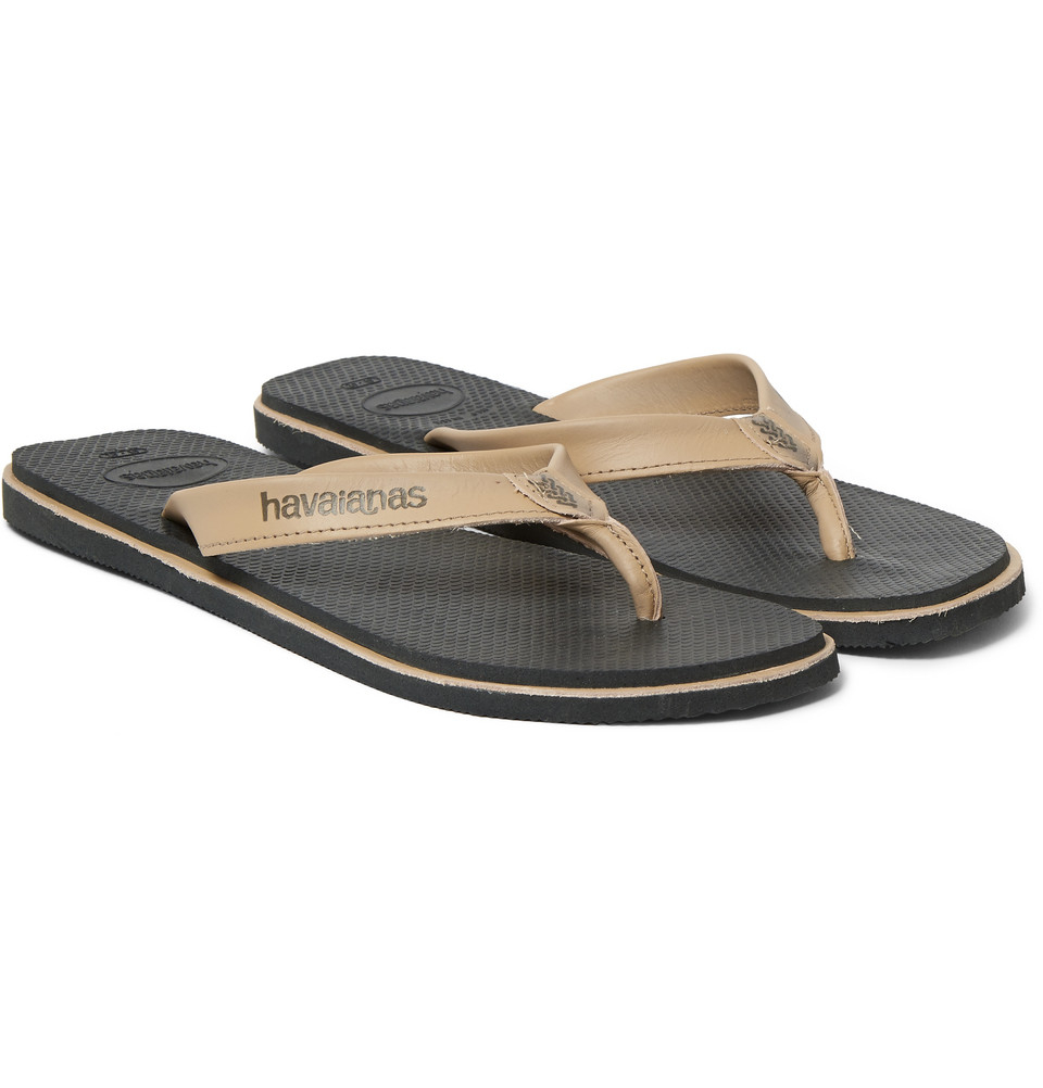 e203ae6e2c96c2 Lyst - Havaianas Urban Premium Leather And Rubber Flip Flops in Gray ...