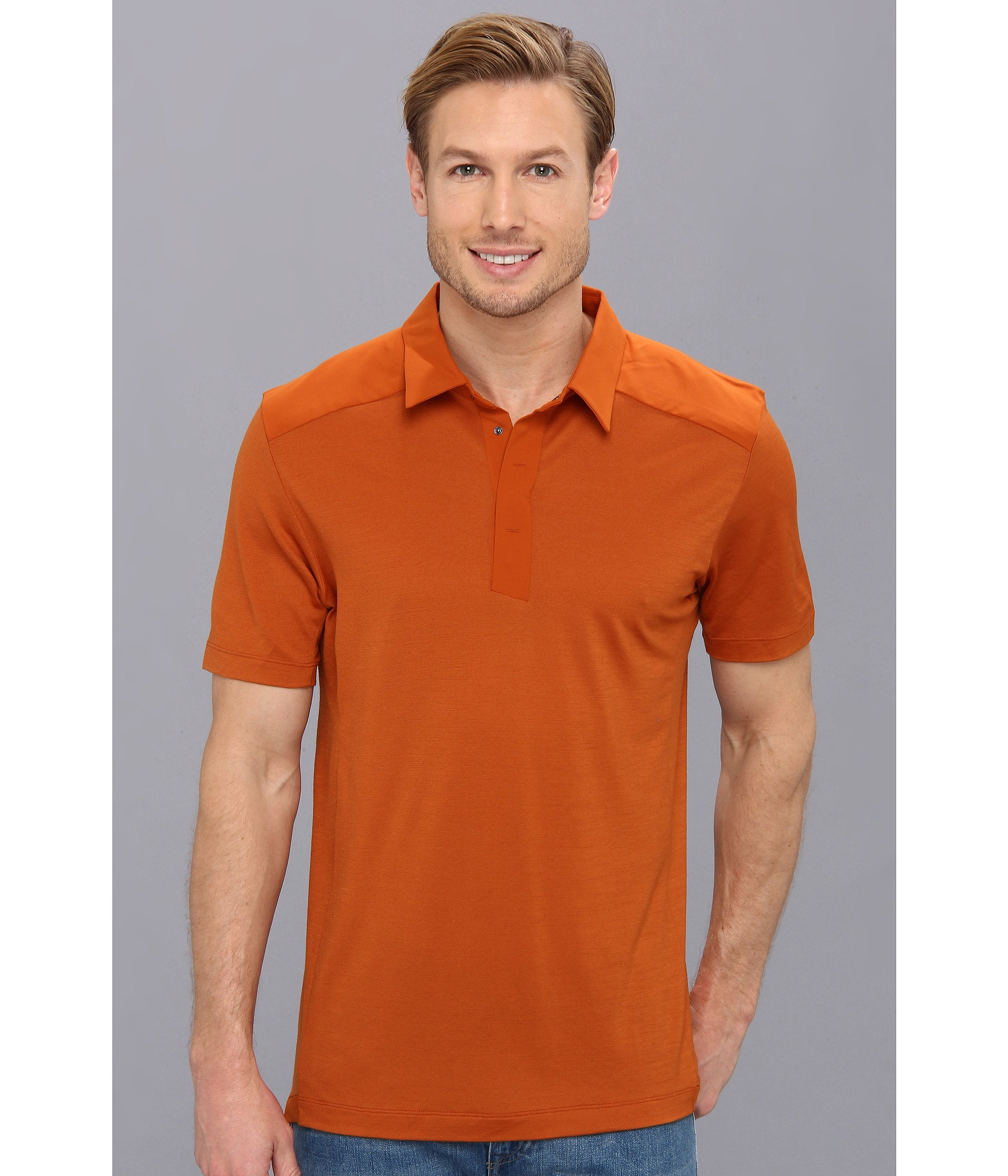 lyst arc 39 teryx a2b polo shirt in orange for men. Black Bedroom Furniture Sets. Home Design Ideas