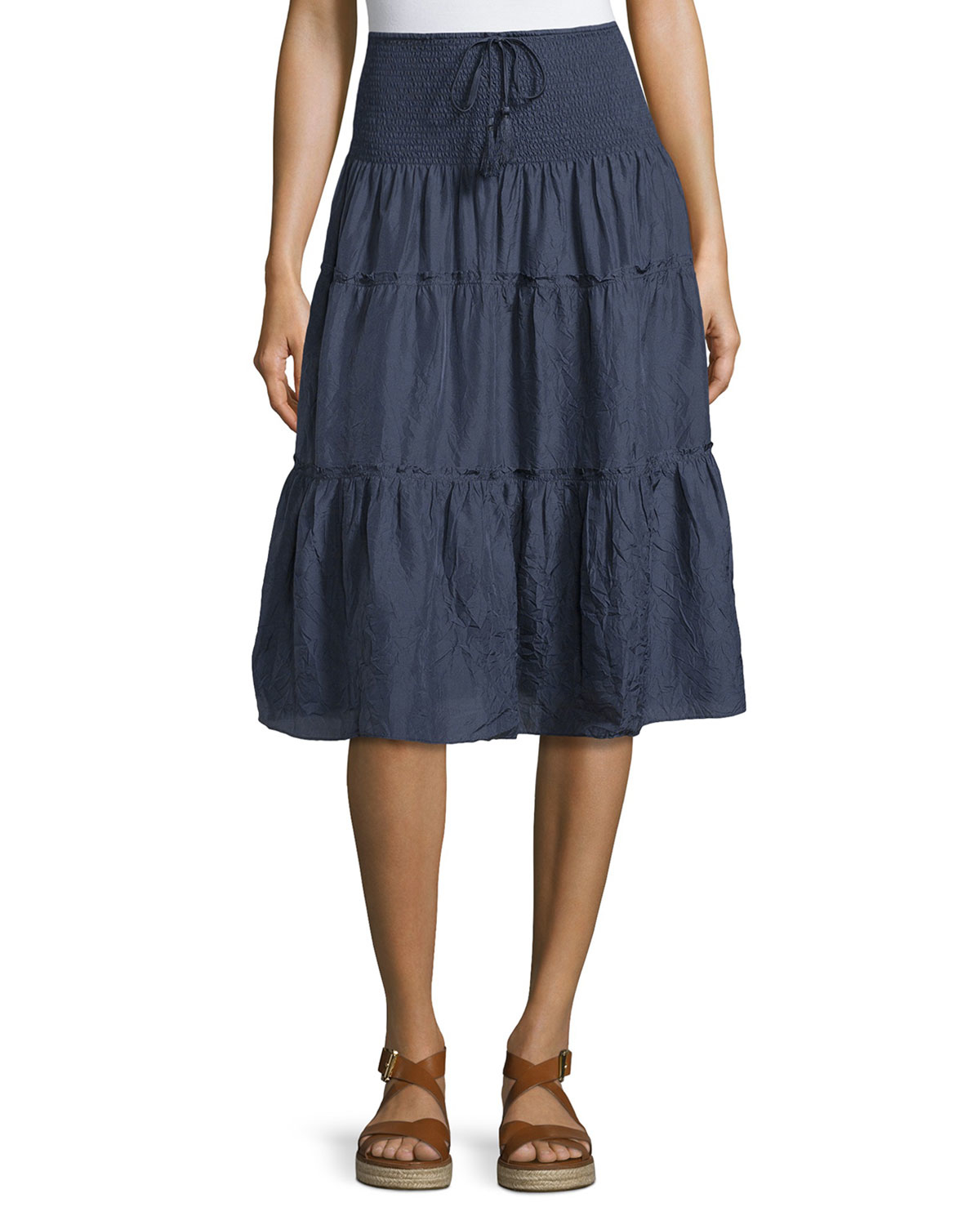 calypso st barth payson tiered midi skirt in blue lyst