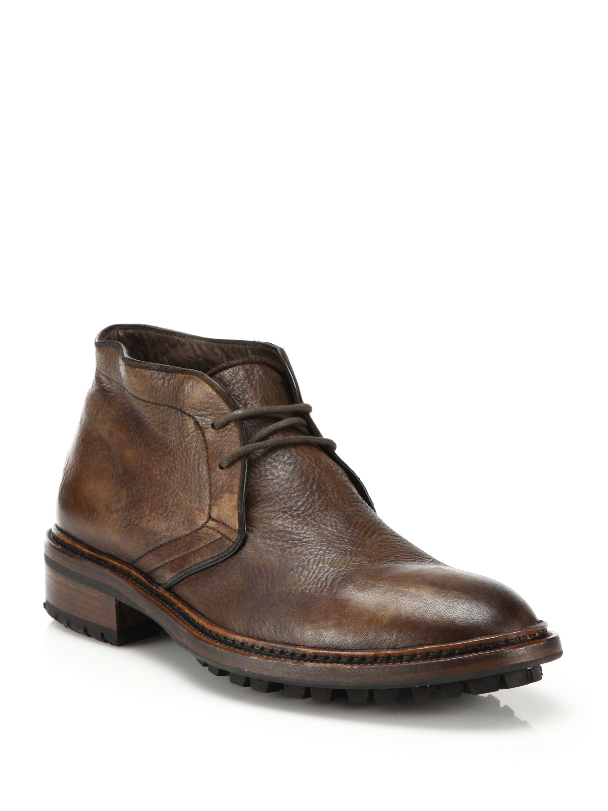 to boot clemmons deerskin chukka boots in brown for lyst