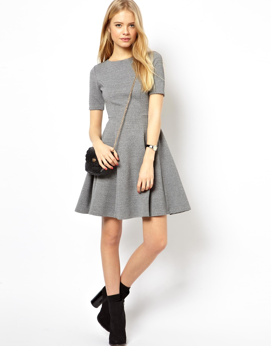 f9feac179 ASOS Structured Skater Dress In Rib in Gray - Lyst