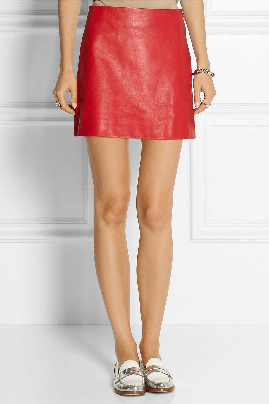 Red Leather Mini Skirt - Dress Ala