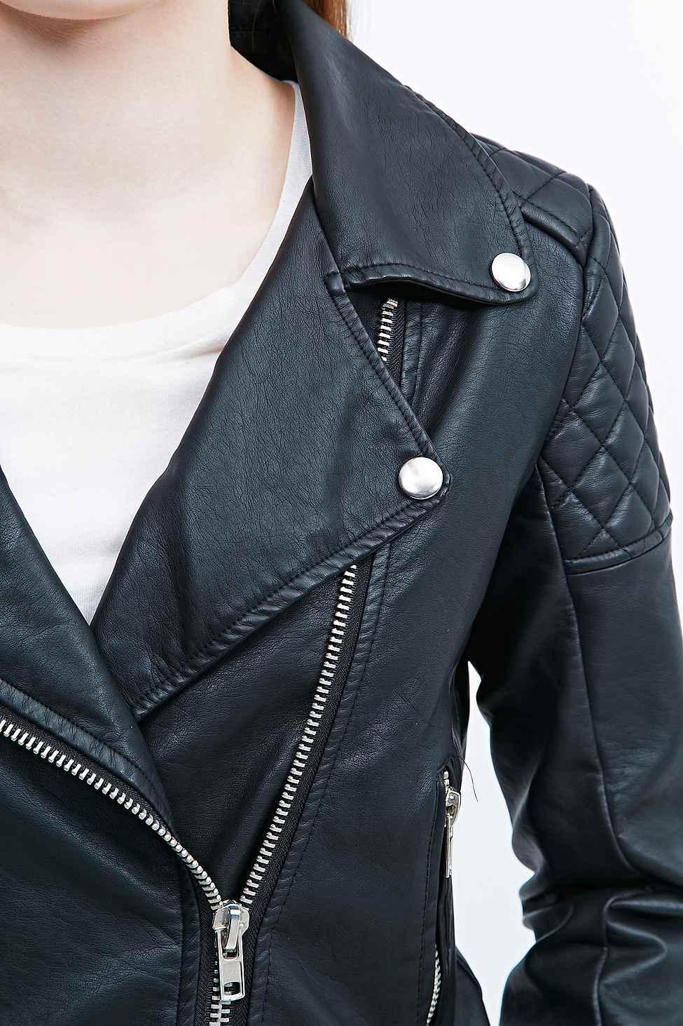 Bdg Black Faux Leather Quilted Biker Jacket In Black Lyst