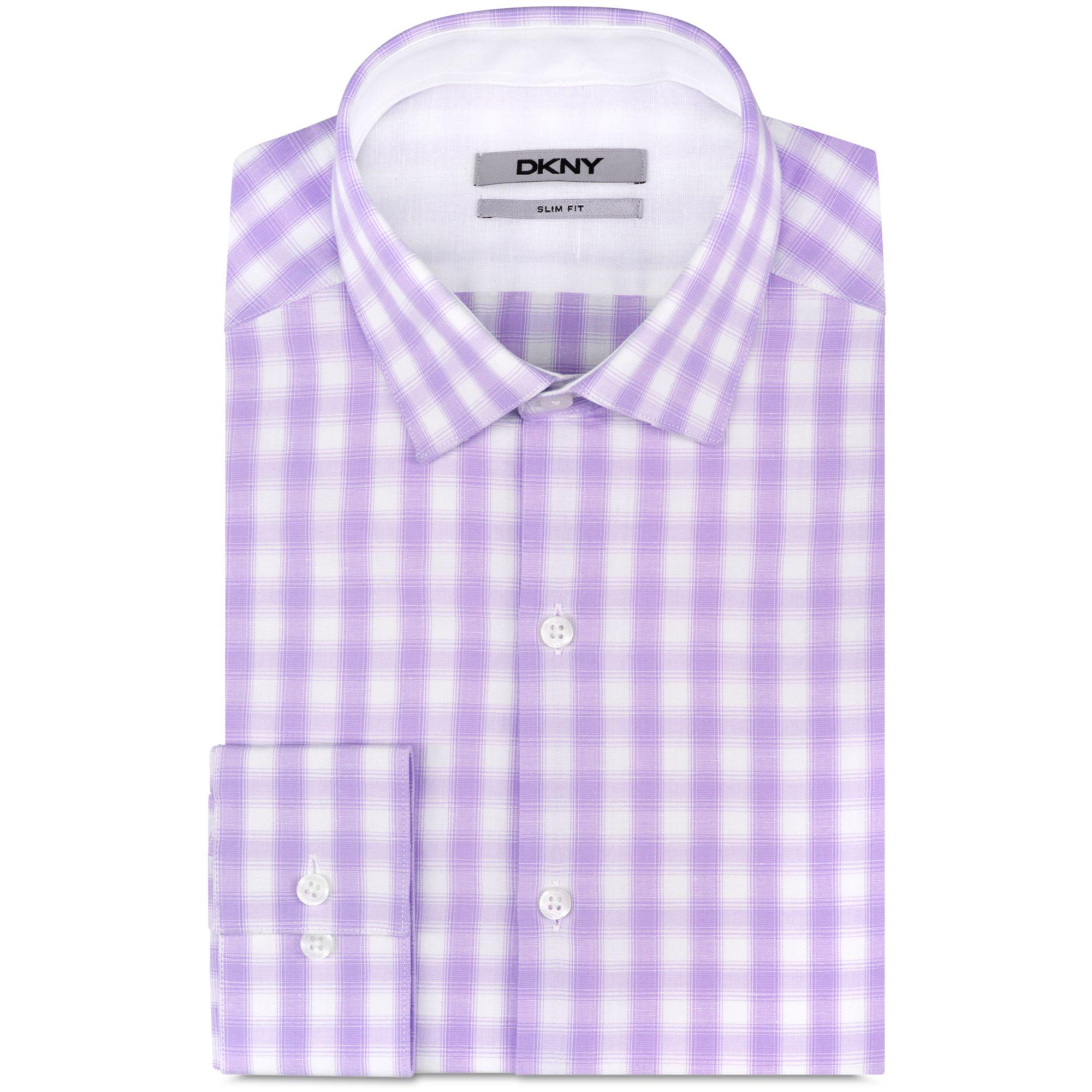 Dkny Slim Fit Linen Blend Large Plaid Dress Shirt In