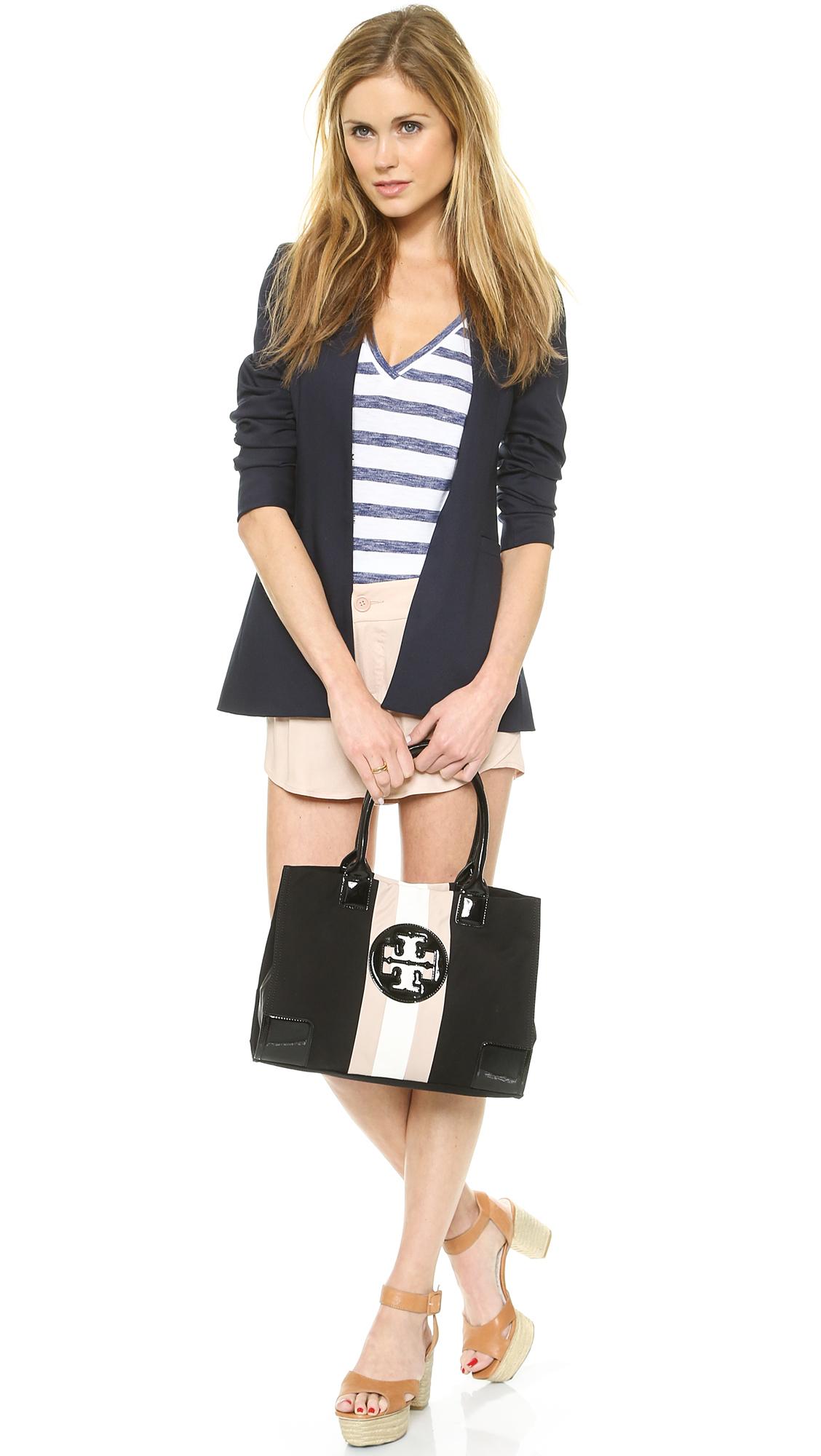 Tory Burch Ella Mini Striped Tote Blackblushivory In Black
