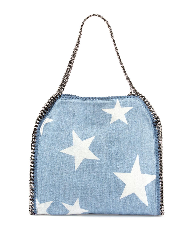 83af1f4ec5f0 Lyst - Stella McCartney Small Falabella Star-print Tote Bag in Blue