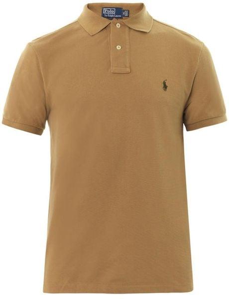 Polo Ralph Lauren Slimfit Cottonpiqu Polo Shirt In Brown