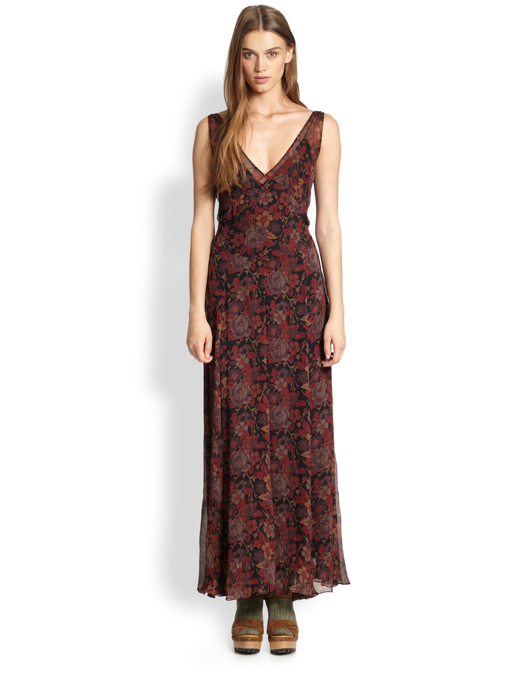 Lyst Polo Ralph Lauren Silk Floral Print Dress