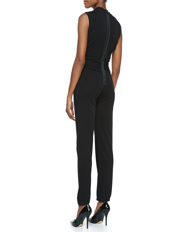 2a49948546a Lyst - Elie Tahari Hudson Jersey Sleeveless Jumpsuit in Black