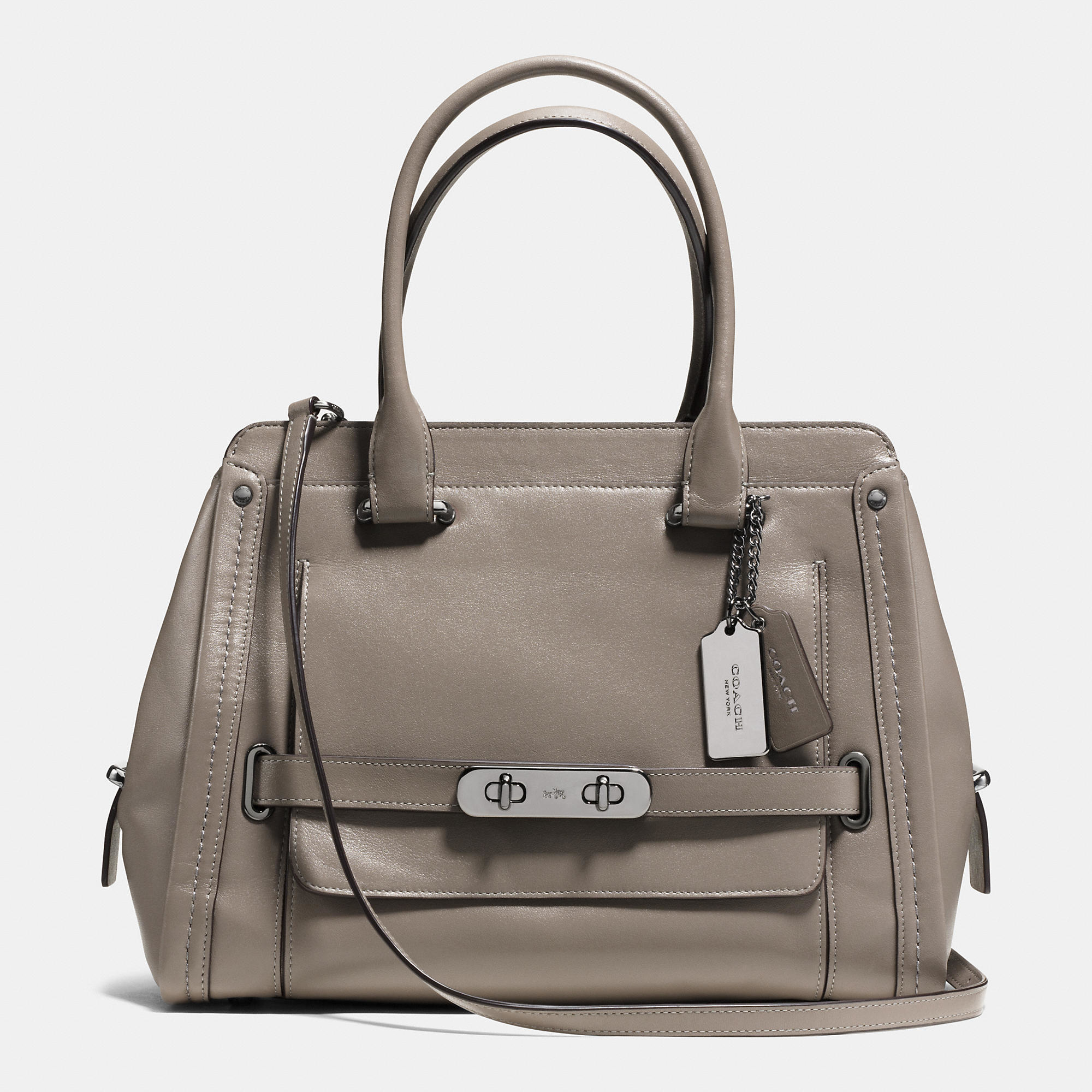 Lyst Coach Swagger Frame Satchel In Calf Leather In Metallic
