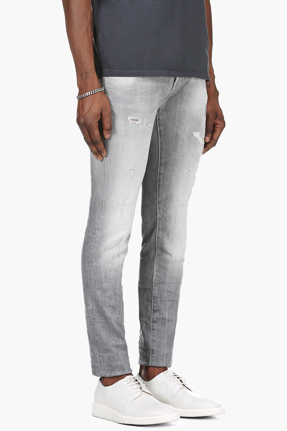 Dsquared² Light Grey Distressed Jeans in Gray for Men | Lyst