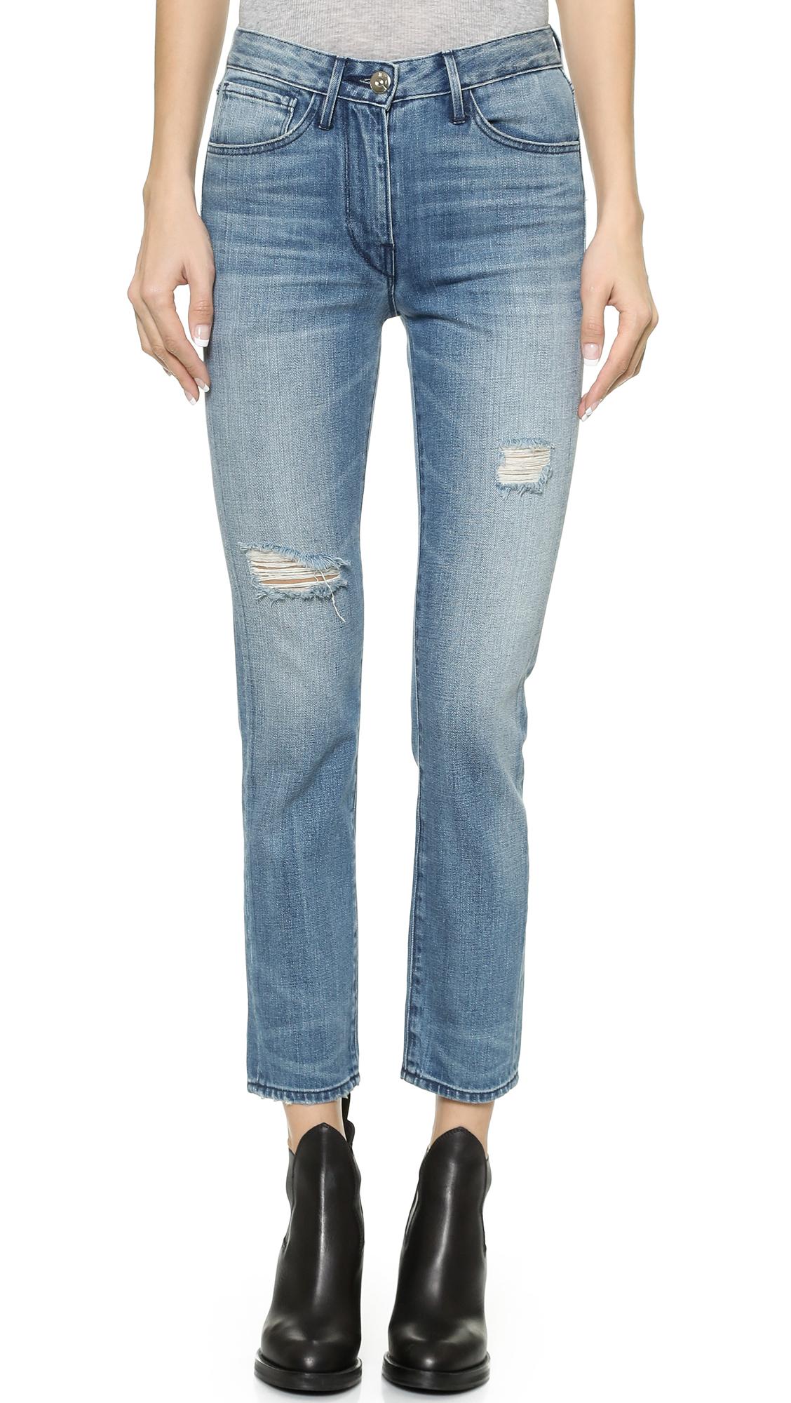 5b1de94c15c6f3 3X1 W3 High Rise Straight Leg Cropped Jeans - Mcqueen in Blue - Lyst