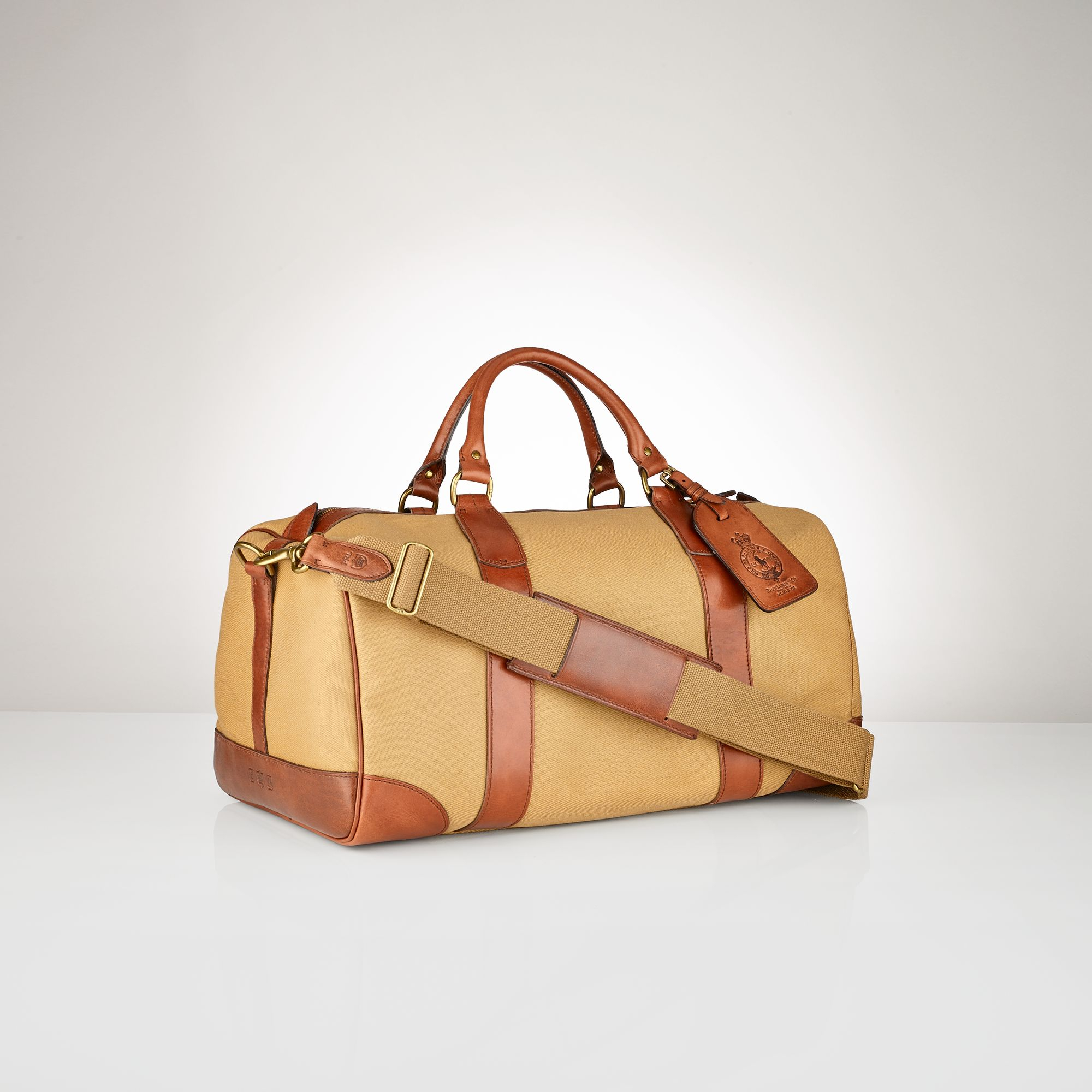 1add31d0979b Polo Ralph Lauren Canvas Leather Gym Bag in Natural for Men - Lyst