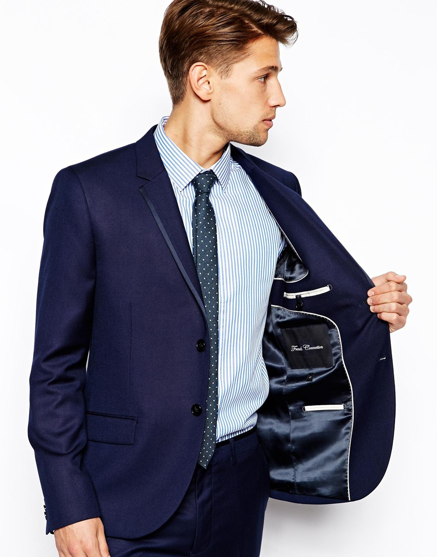 French connection Slim Fit Suit Jacket Basket Weave in Blue for