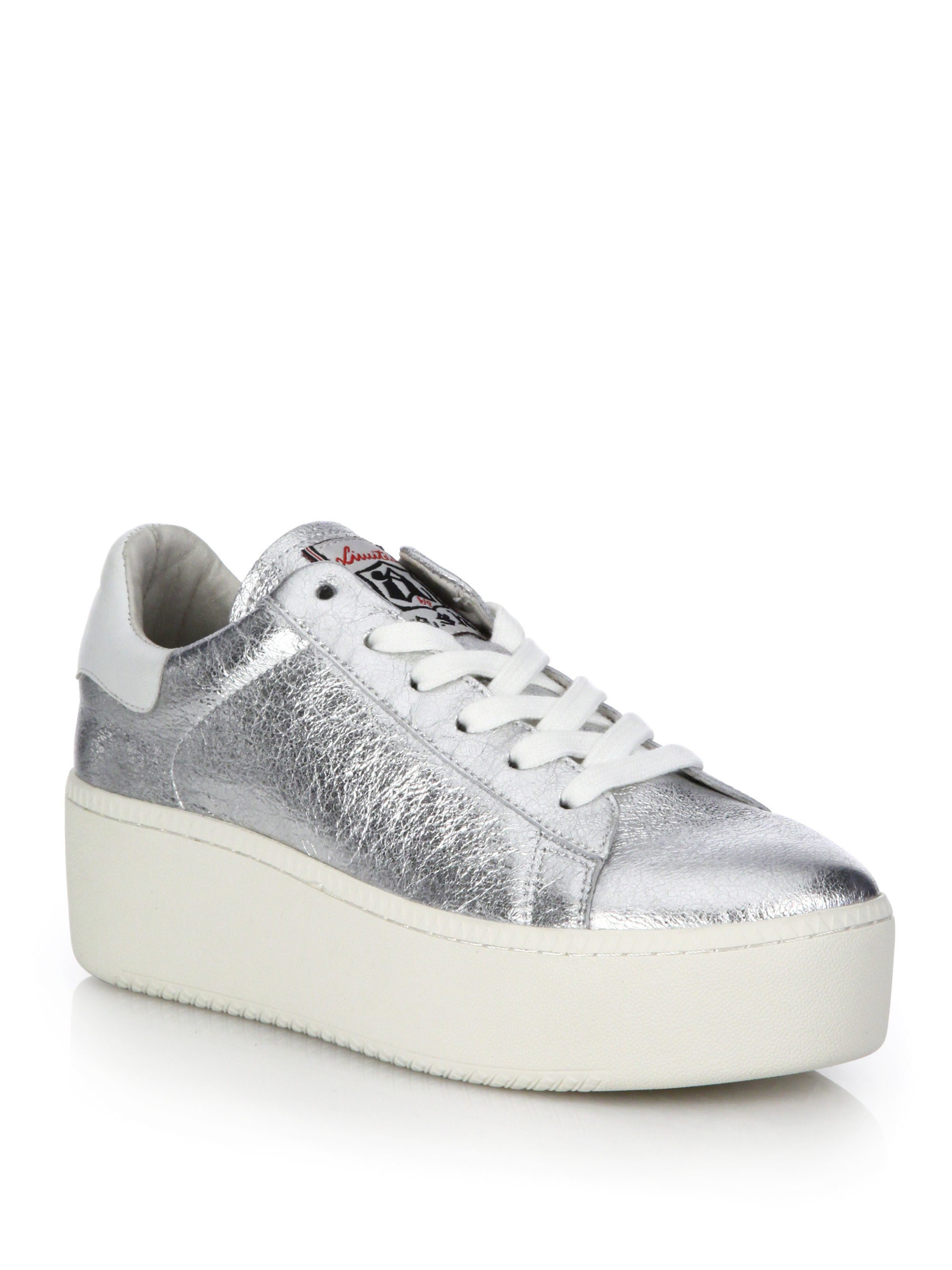 Ash Cult Metallic Leather Platform Sneakers in White