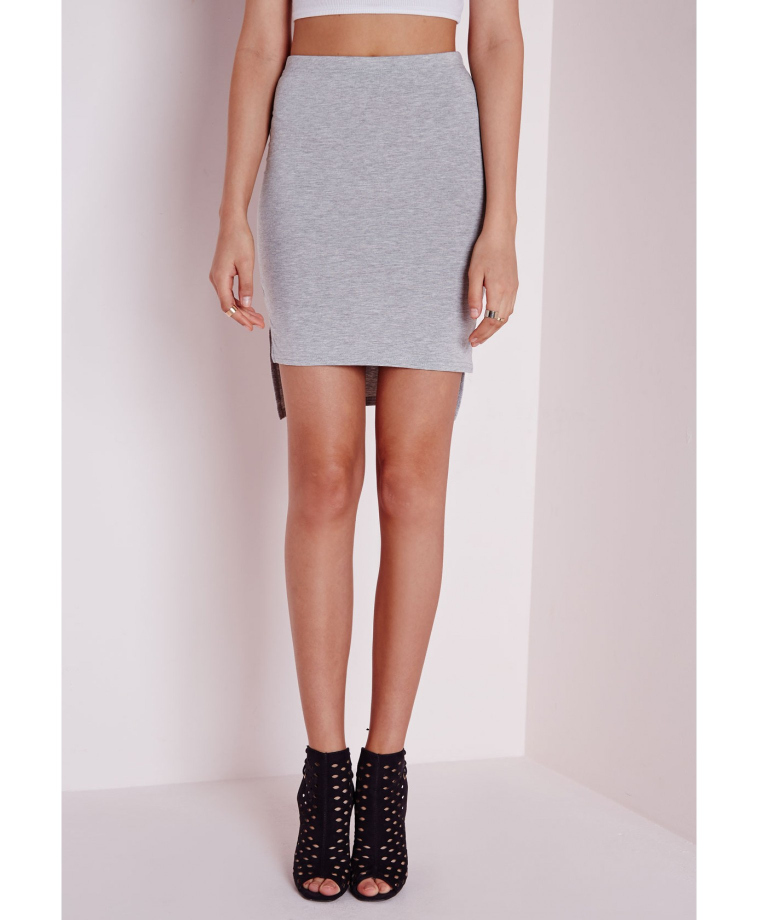 Missguided Step Hem Jersey Mini Skirt Grey in Gray | Lyst