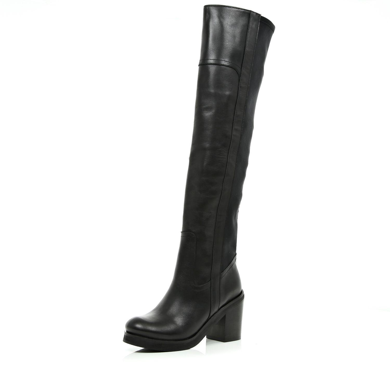 river island black block heel the knee boots in black