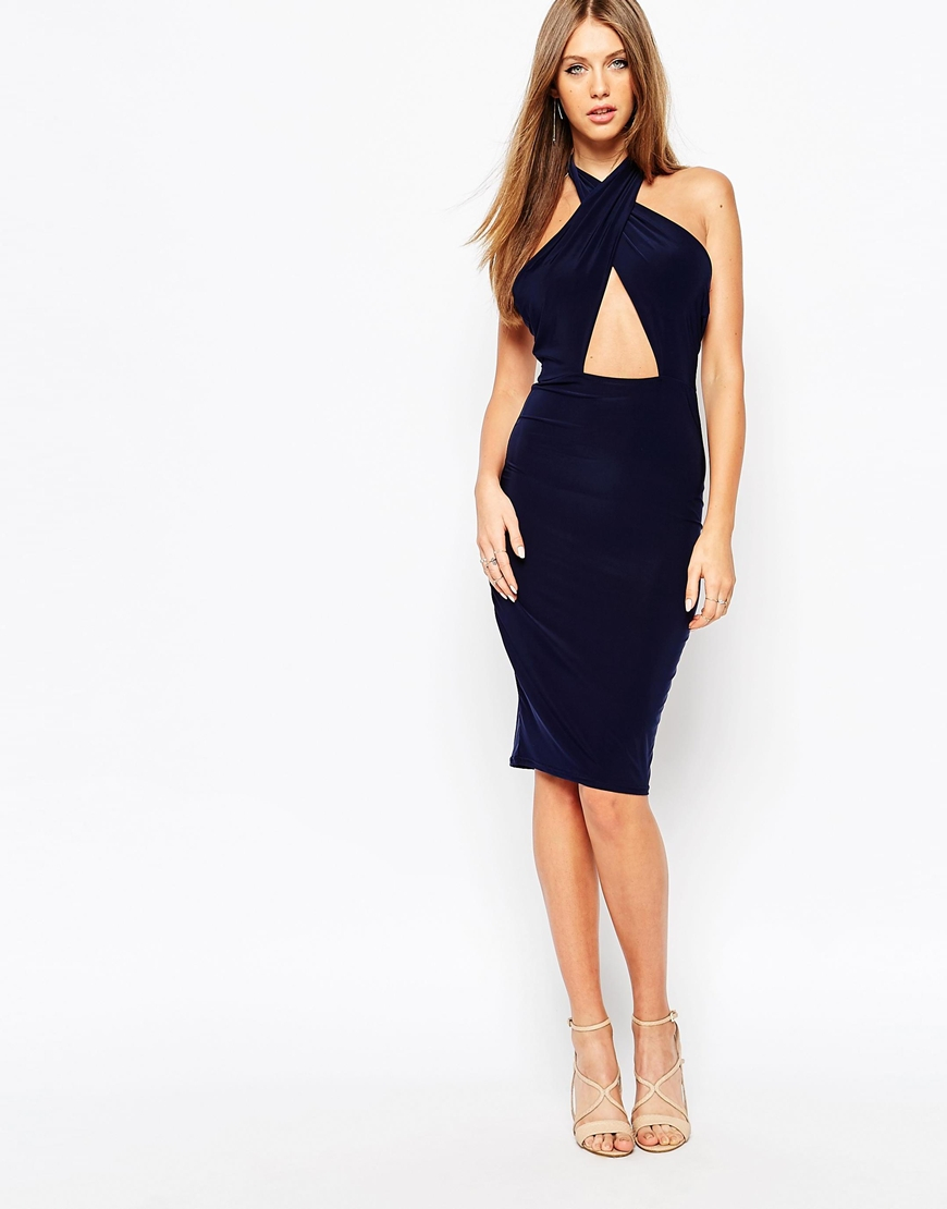 c5703f693a5b Missguided Slinky Cross Front Halterneck Midi Dress - Navy in Blue ...